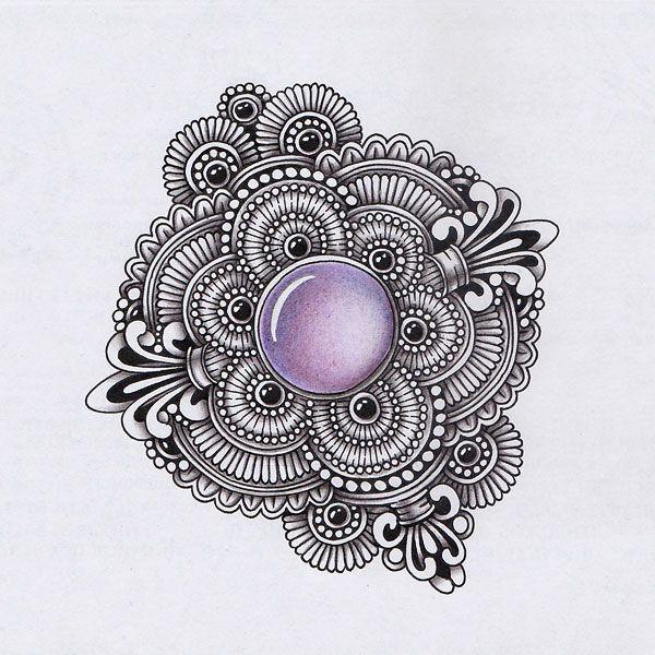 Zentangling & Gems.  Размер рисунка примерно 8х8 см. Материалы: гелевая ручка, цветные карандаши.