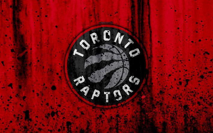Download wallpapers 4k, Toronto Raptors, grunge, NBA, basketball club, Eastern Conference, USA, emblem, stone texture, basketball, Atlantic Division