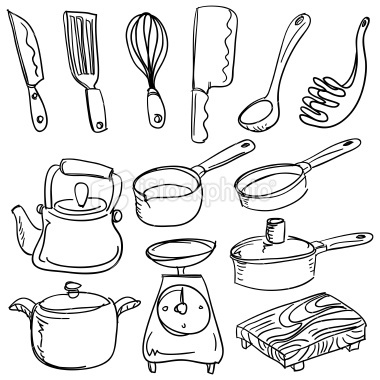 Kitchen Tools Drawings kitchen utensils drawing ~ crowdbuild for .