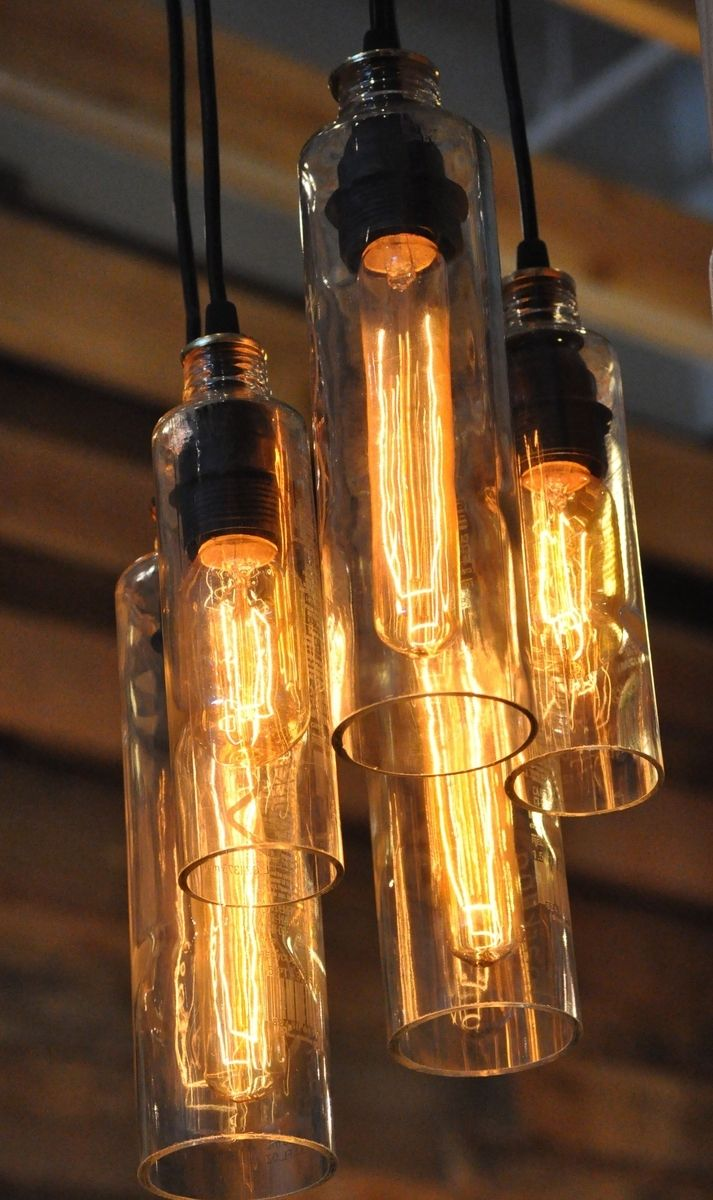 Chandeliers made from recycled Voss water bottles