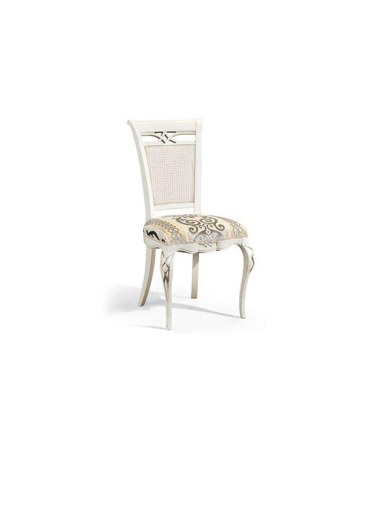 Scaun din lemn masiv art 507s white Upholstered Chair Meggoirini Santino Collection
