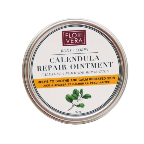 FLORIVERA Calendula  Oitment helps to soothe and calm irritated skin. Made in Canada. 60g   www.florivera.com  Anti-inflammatory benefits, reduces redness and it is recommended to soothe psoriasis and eczema. Intensely hydrating and nutrient-rich. Anti-Inflammatory, anti-Irritant and very soothing it helps to calm inflamed conditions such as acne, rashes, and burns. It helps to heal old scars from acne and stretch marks. It helps on relief from psoriasis and eczema.