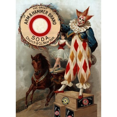 1900 Arm & Hammer Baking Soda Advertising Poster. Advertisement for Arm & Hammer baking soda, showing a clown, and an acrobat on a horse. This vintage ad poster dates to 1900.