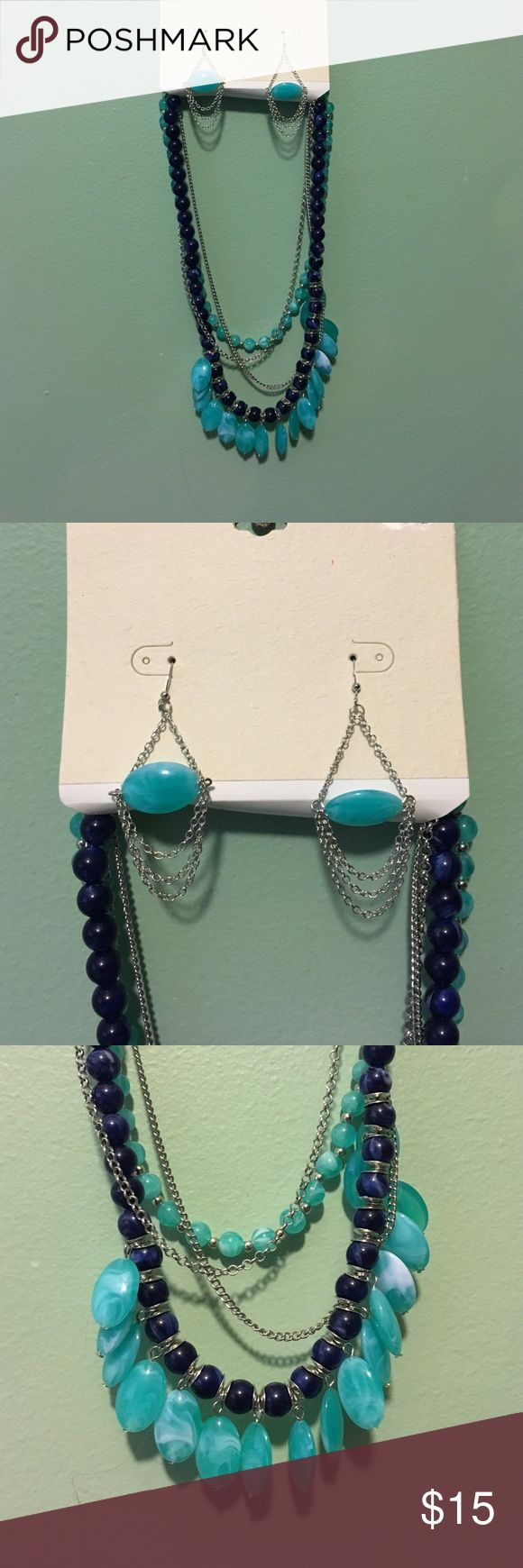 NWT. Necklace & Earring Set New with tags. Necklace & earring set. Navy blue, sky blue, & silver colors. Multi layered. (Item 849)❌No Trades ❌No Holds ✅Posh Only ✅ Smoke Free Home ✅Offers Considered ✅Special Bundle Deals (just ask!) Jewelry Necklaces