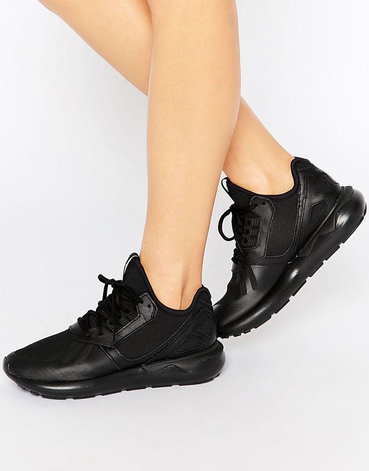 Image 1 ofadidas Tubular Runner Black Trainers