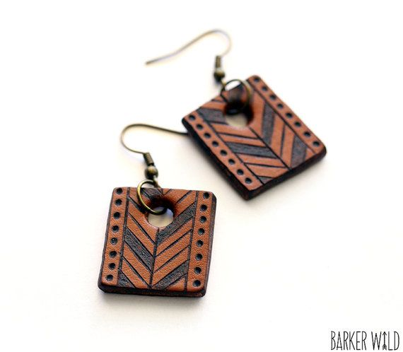 Nomad chevron earrings, Tribal Leather earings, arrows pattern aztec jewellery, Boho Pyrography earings, festival earrings