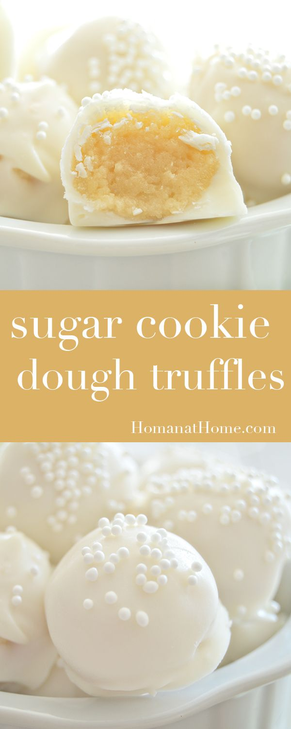 White chocolate wrapped sugar cookie dough centers make these sugar cookie dough truffles a delicious treat. 15 minutes of hands on time!