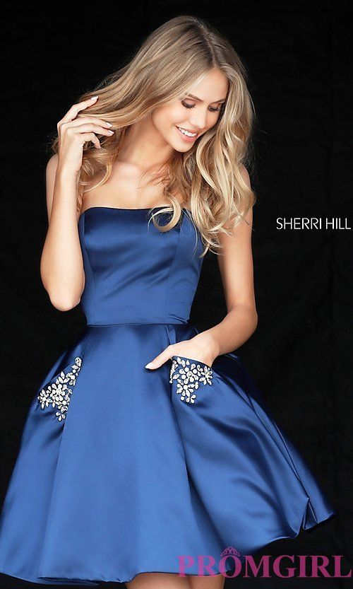 Short Strapless Sherri Hill Homecoming Dress with Pockets