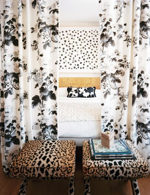 A masterful mix of prints in the boudoir (via @LonnyMag). #Interiors #Animal #home: Lonni Magazines, Polka Dots, Beds Canopies, Black And White, Mixed Patterns, Interiors Design, Animal Prints, Bedrooms Photo, Patterns Mixed