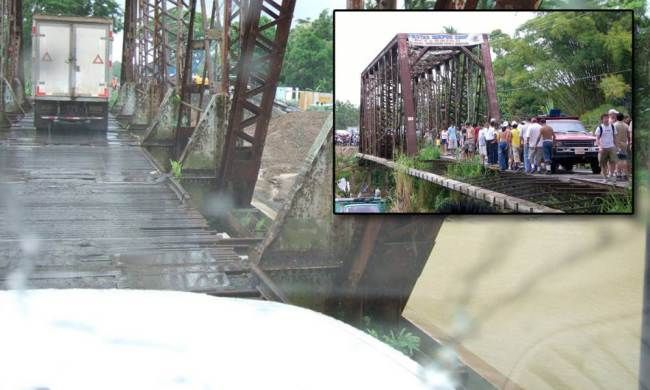 "Quepos Bridge, Costa Rica - ""the Bridge of Death"". people and lagre vehicles travel across this rickety bridge every day"
