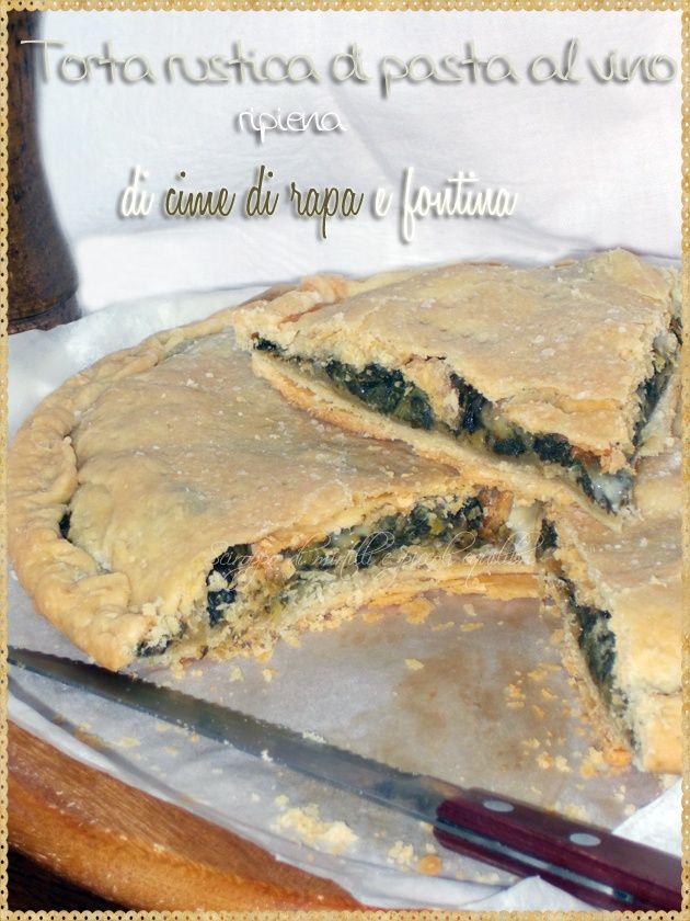 Torta rustica di pasta al vino ripiena di cime di rapa e fontina (Rustic pie stuffed turnip greens and fontina)