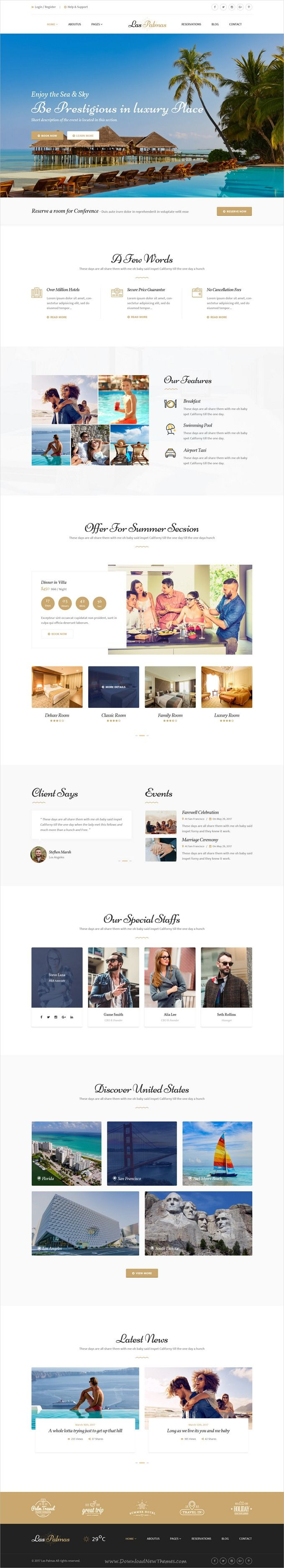 Las Palmas is clean and modern design #PSD template for #hotel and #resort beautiful website with 12 PSD pages download now..