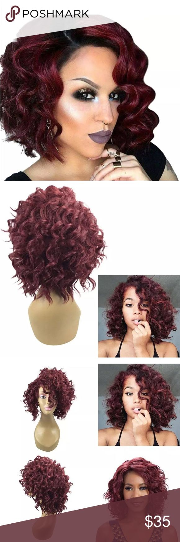 """14"""" Ombré Black/Reddish Wine Curly Bob Wig Curly Shoulder length Ombré Bob Length: Approximately 14"""" Color: Ombré Black to Reddish wine  Cap size is average and is ADJUSTABLE  Material: Shiny Heat Resistant High Temperature Synthetic Fiber material is very similar to human hair with it's appearance, color and feel  It can be straightened and curled at lower temperatures (150 degrees Celsius) It is soft, silky and looks and feels just like your real hair 🛑 NOT recommend for dying and…"""