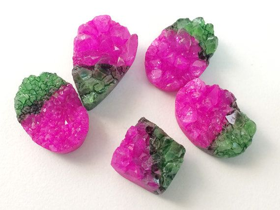 5 Pcs Druzy Double Color Druzy Pink & Green Druzy by gemsforjewels