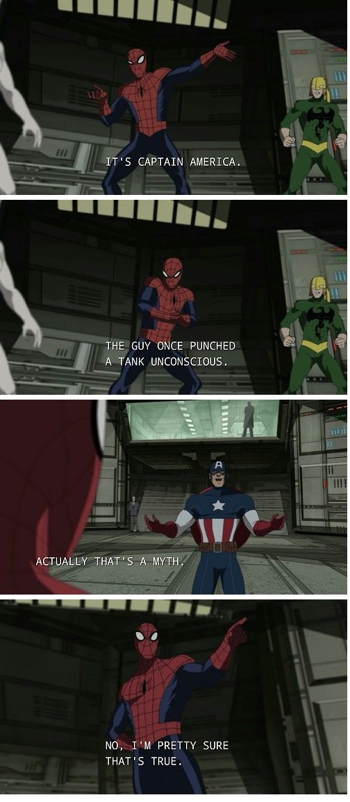 """I'm pretty sure it's true."" ULTIMATE SPIDER-MAN--Superhero Banter. two of my favorite Supers"