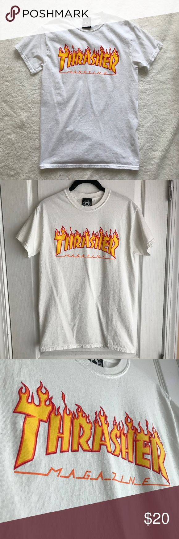 "Thrasher Graphic Tee Snag this super popular graphic tee to add a touch of skater vibes to any look!  Looks great with camo joggers or blue skinnies and a black bomber jacket (also available on my shop, check it out!)  100% cotton a unisex SMALL worn once, washed twice (once when I brought it home from the store, and once after wearing it). Will be washed before shipping as well! neck: 14.25""-15"" chest: 36""-38"" Zumiez Tops Tees - Short Sleeve"