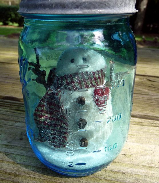 Primitive snowman snow globe blue ball jar
