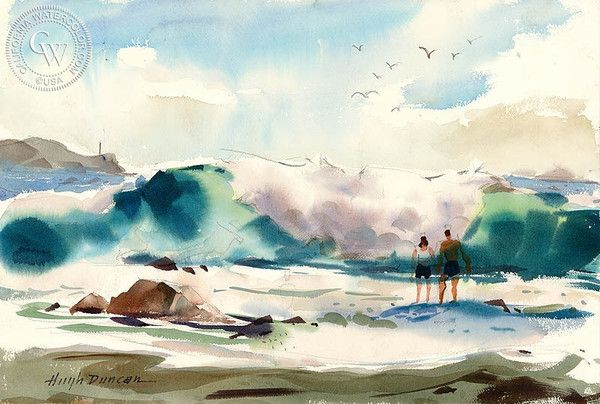 Hugh Duncan - Newport Beach, California art, original California watercolor art for sale, fine art print for sale, giclee watercolor print - CaliforniaWatercolor.com