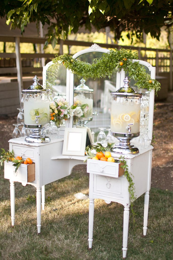Love the use of a Vintage Vanity for the lemonade - Calamigos Ranch Wedding from Annie McElwain Photography