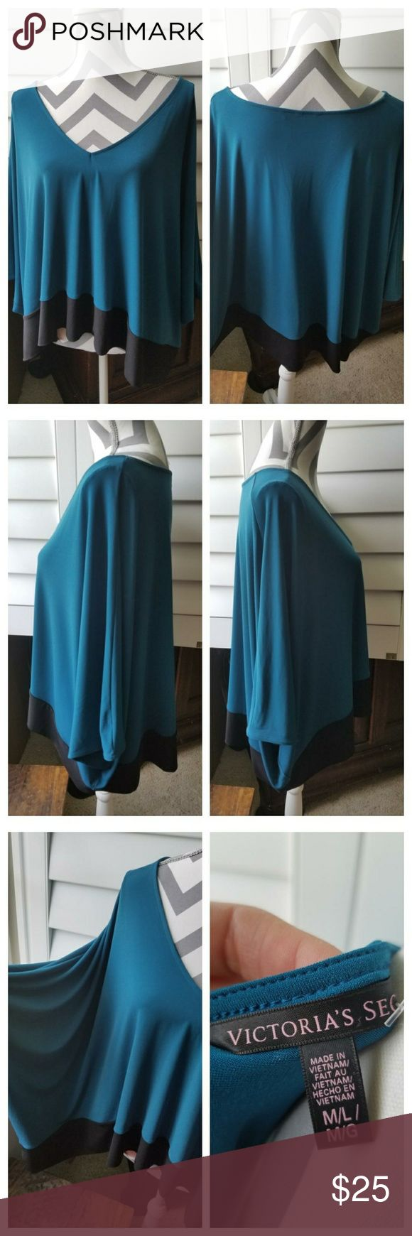 NWOT Victoria's Secret Poncho Style Lounge Top NWOT Victoria's Secret Poncho Style Lounge Top Teal with black panel, deep V-neckline in like new condition and no flaws. Too short for my liking but wouldn't say it is cropped, I am just long waisted. Measurements upon request. Victoria's Secret Tops