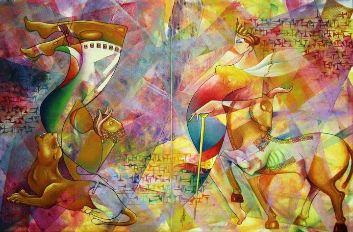 القربان Offer 90 x140 cm  Oil & Canvas 2010 Artist Firas Albasry