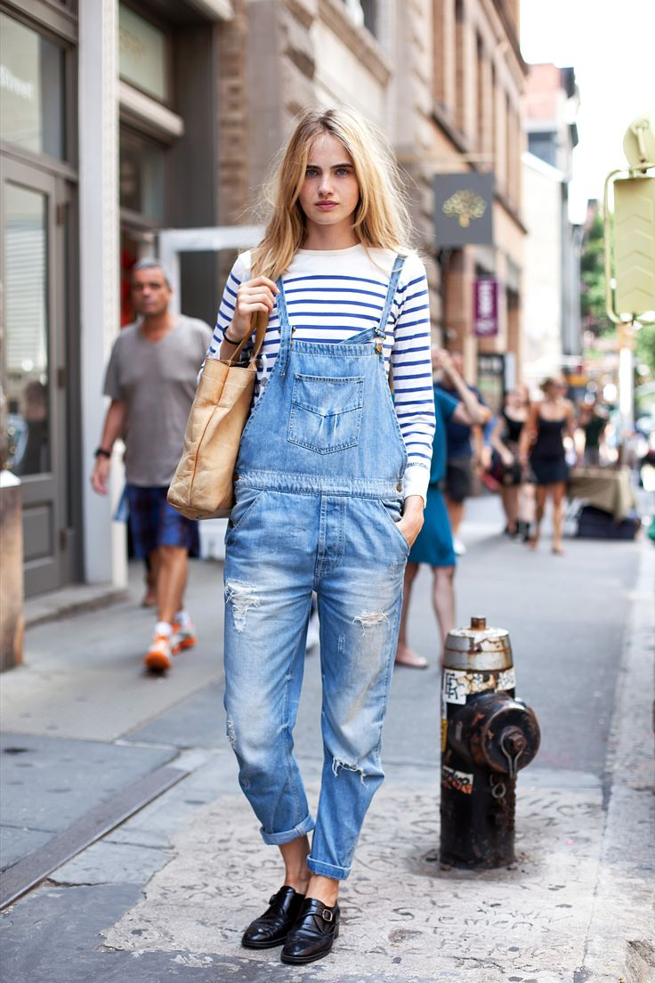 Dressed down dungarees and a breton in New York.