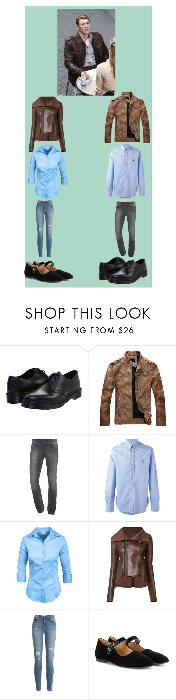 """Matching: Steve Rogers/ Captain America"" by hayzkidrocky ❤ liked on Polyvore featuring Dr. Martens, Diesel, Polo Ralph Lauren, Rick Owens Lilies, Current/Elliott and The Row"
