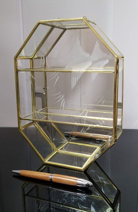 Vintage Octagon Brass Glass With, 8 Sided Mirror Box