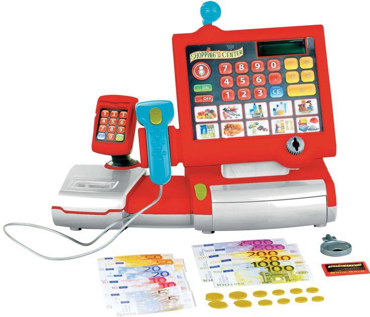 ¡Caja registradora electrónica con luces y sonidos! Tiene pantalla digital, escáner, micrófono y llave para el cajón. También incluye dinero y una tarjeta de crédito ¡No le falta detalle! ;) #cajaregistradora #juguete #niños