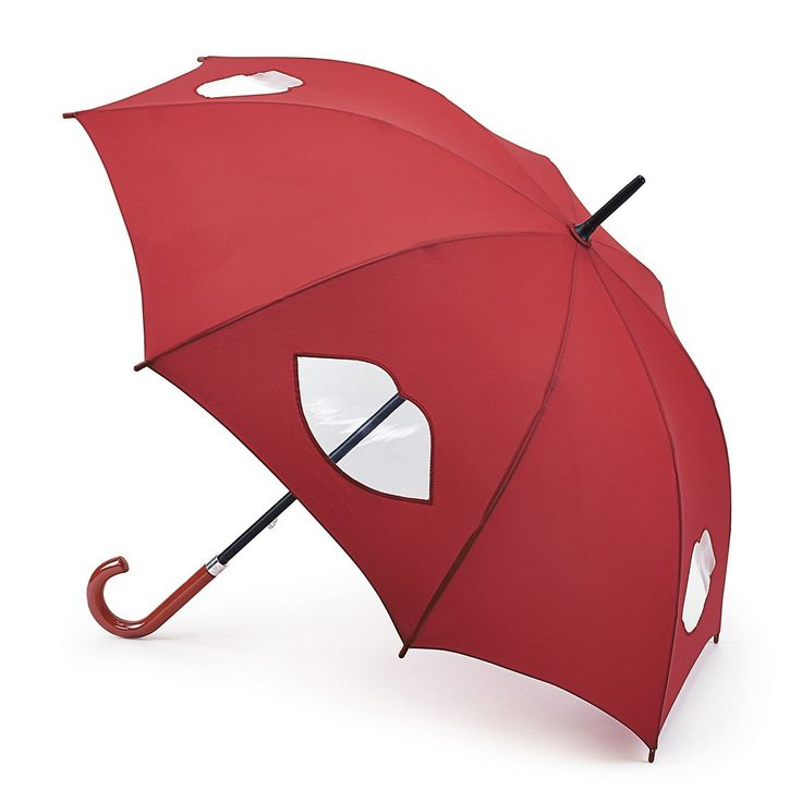 Buy Lulu Guinness Kensington Umbrella In Red With Cut Out Clear Lips