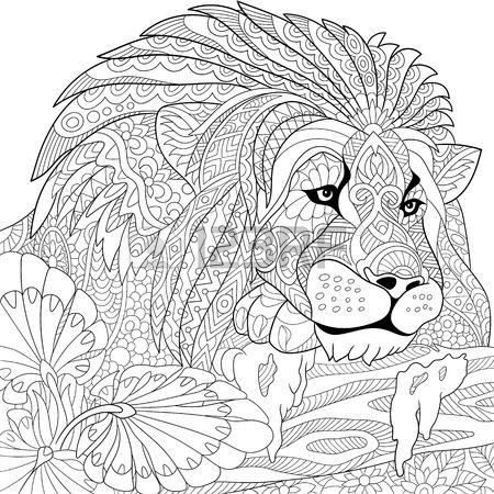 stylized cartoon lion (wild cat, leo zodiac)➕Coloring Page ➕More Pins Like This At FOSTERGINGER @ Pinterest ➕