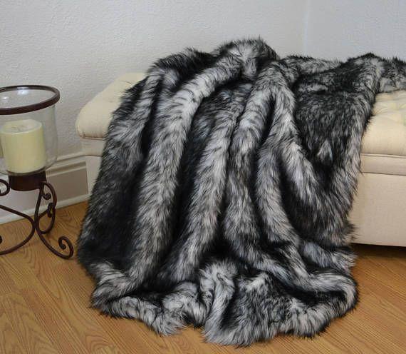 Black And White Faux Fur Blanket Throw Faux Fur Blanket Fur