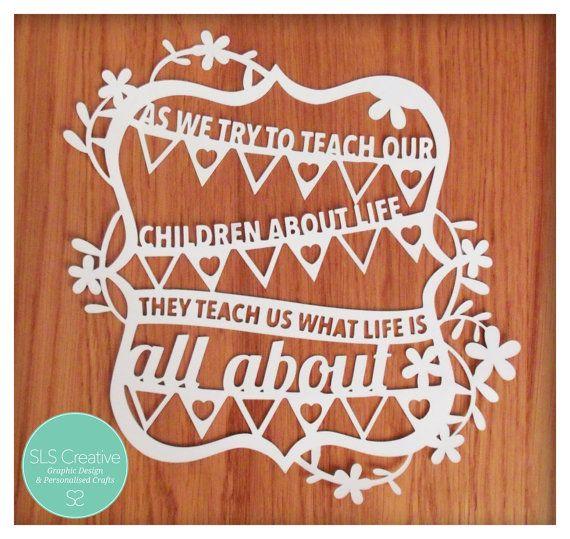 Bruant & fleurs enfants cite papier découpé / Papercut modèle DIGITAL DOWNLOAD SLS Creative