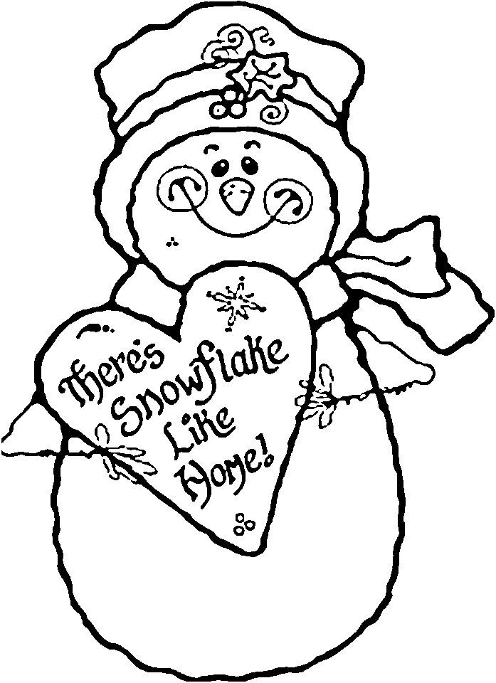 Heart And Snowman Coloring Pages To Print