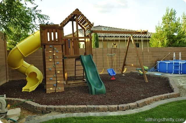 Backyard design reveal it s about time diy for Home playground design ideas