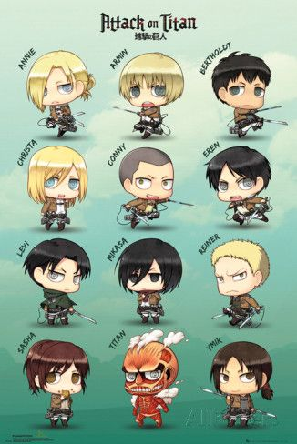 Attack On Titan Chibi Characters Affiche