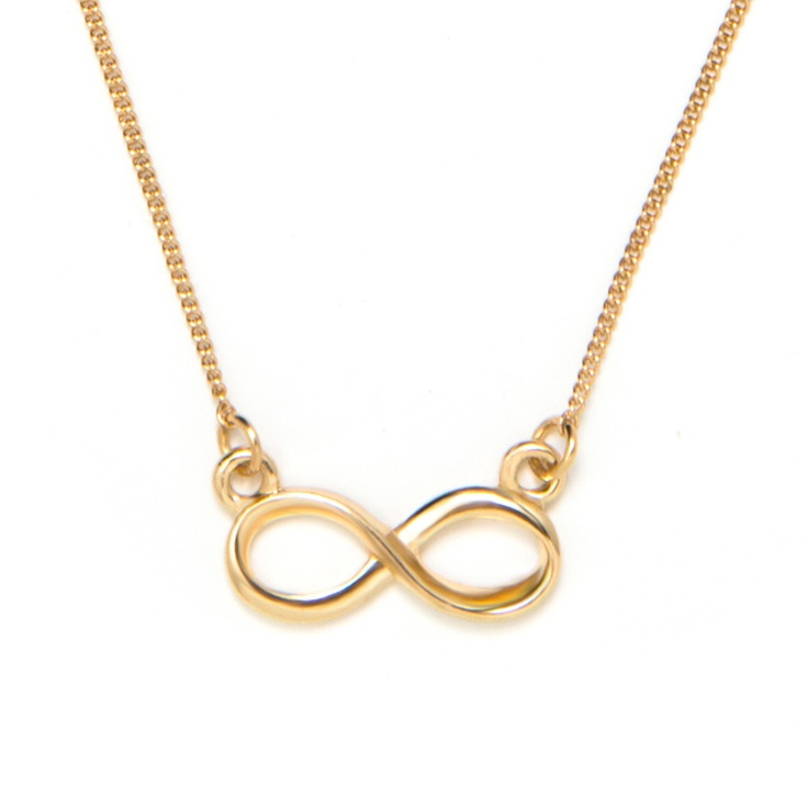 Pin to Win $500! this dainty, gold infinity necklace can be worn solo or layered. Enter here: https://www.facebook.com/justfab/app_137377669785610?ref=ts
