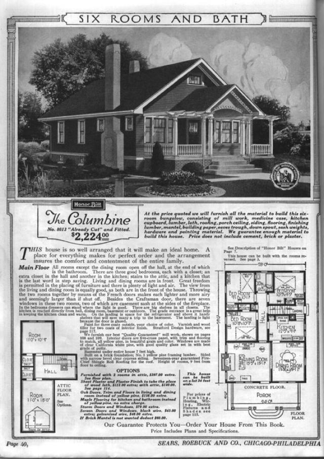 Sears Bungalows for Sale, 1921 Catalog House Plans: Sears Modern Home No. 8013, The Columbine, circa 1921