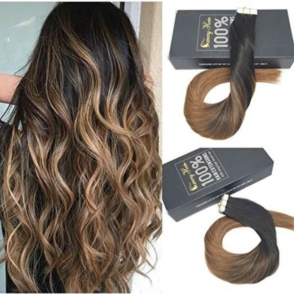 Tape In Black To Brown Balayage Human Hair Extensions 1b6 Tape