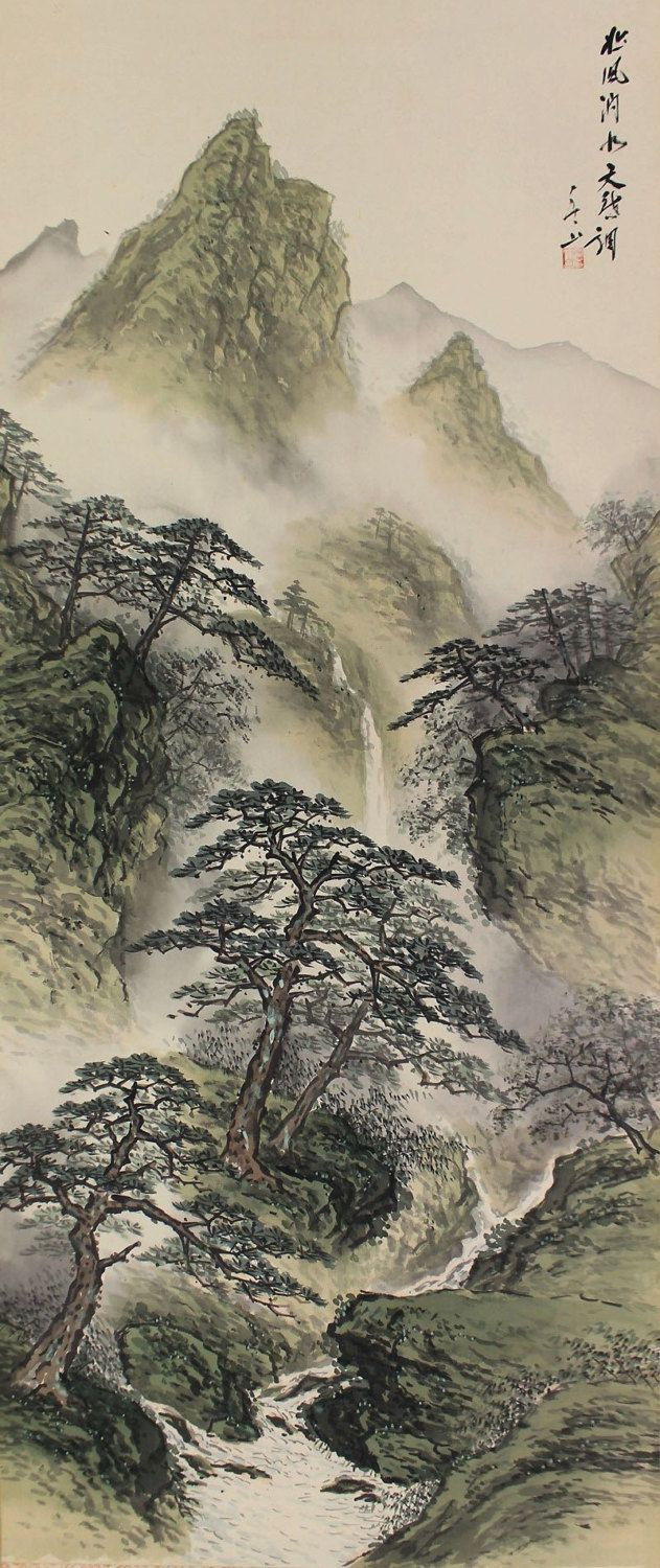Landscape Kakejiku. Japanese hanging scroll.
