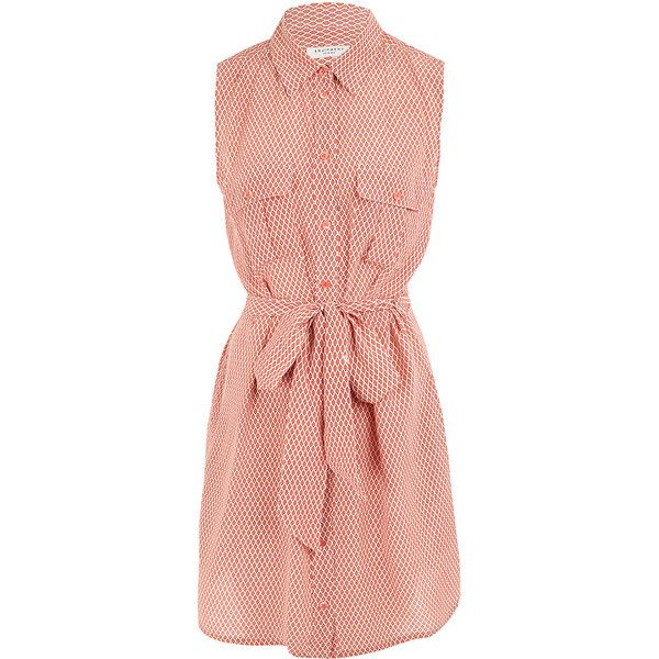 Equipment Coral Jody Print Sleeveless Silk Shirt Dress found on Polyvore