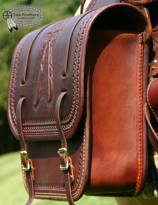Saddle Bag Detail 2 from Two Feathers Leathercraft.-SR