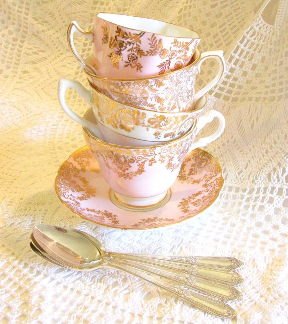 Pale Pink Instant Tea Party Set collection 4 Vintage English fine bone china pink and gold cups / teacups & saucers plus vintage silver teaspoons for mismatched Mad Hatter wedding, shower or birthday table, by HighTeaForAlice
