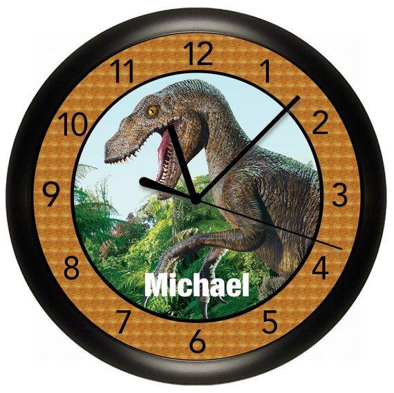 Dinosaur Wall Clock 10 inches Diameter T-Rex by cabgodfrey on Etsy