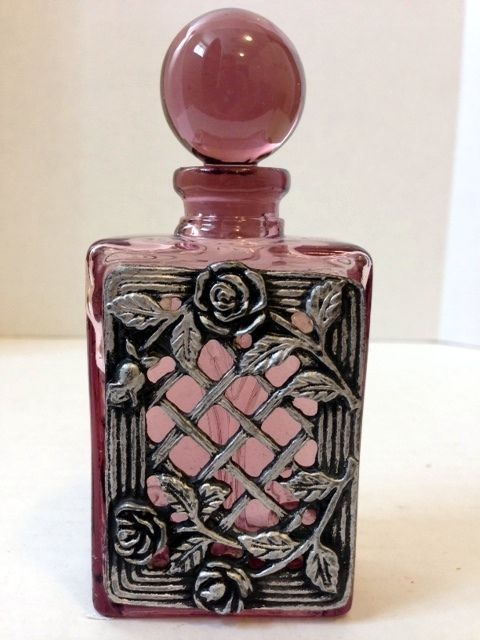 French Embossed Amethyst/Silver Perfume Bottle