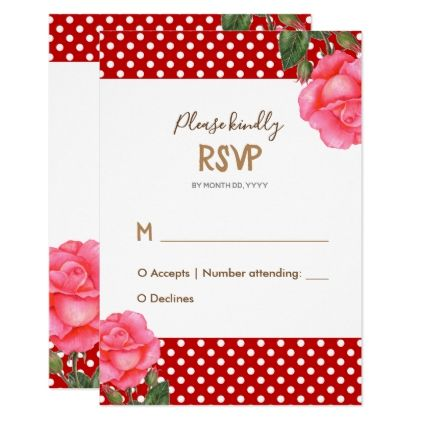 Watercolor Pink Rose Wedding Response Reply RSVP Card - rsvp gifts card cards diy unique special