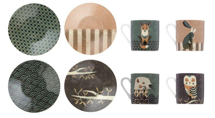 Wildlife Dusk Set of 4 Espresso Cups and Saucer