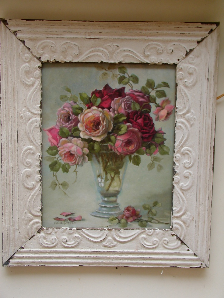 gorgeous!: Cottages Style, Decor Ideas, Chic Frames, Shabby Chic, Rose Paintings, Vintage Charms, Vintage Frames, Things Pretty, Flower