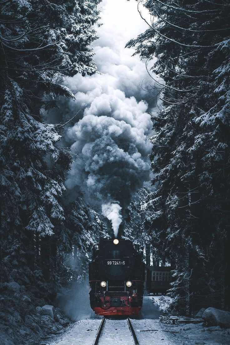 iPhone and Android Wallpapers: Winter Train Wallpaper for iPhone and Android