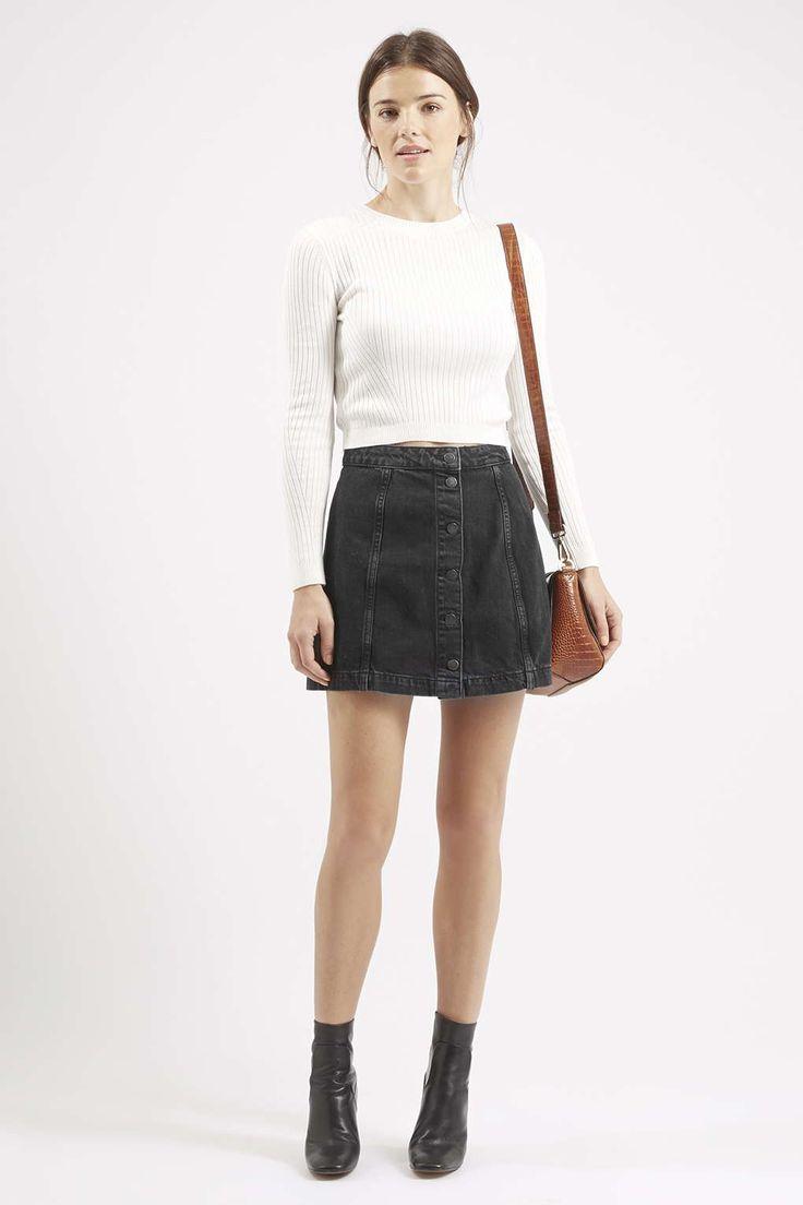 Denim Skater Skirt Outfit Winter